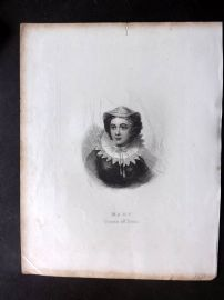 Barclay C1840's Antique Portrait Print. Mary Queen of Scots. Engraving
